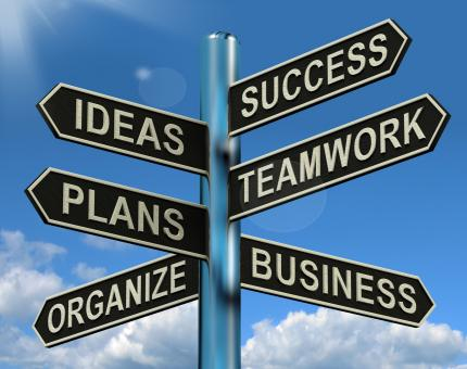 Free Stock Photo of Success Ideas Teamwork Plans Signpost Showing Business Plans And Organ