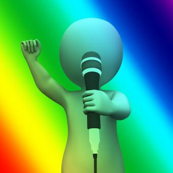 Free Stock Photo of Singing Character Shows Music Songs Or Perform