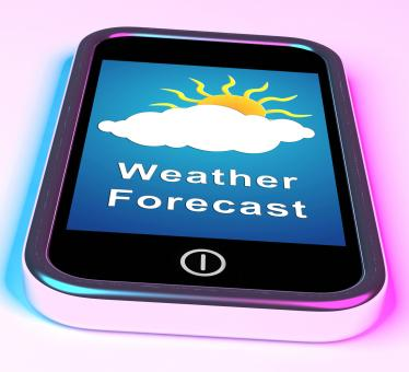 Free Stock Photo of Mobile Phone Shows Cloudy Sun Weather Forecast