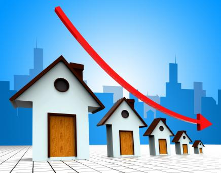 Free Stock Photo of House Prices Down Represents Reduce Regresses And Household