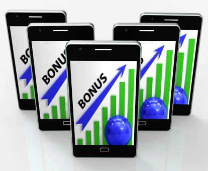 Free Stock Photo of Bonus Graph Phone Shows Incentives Rewards And Premiums