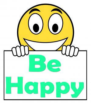 Free Stock Photo of Be Happy On Sign Shows Cheerful Happiness
