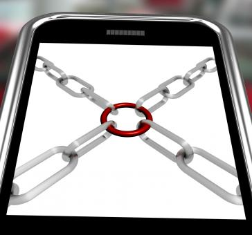 Free Stock Photo of Chains Joint On Smartphone Shows Secure Link