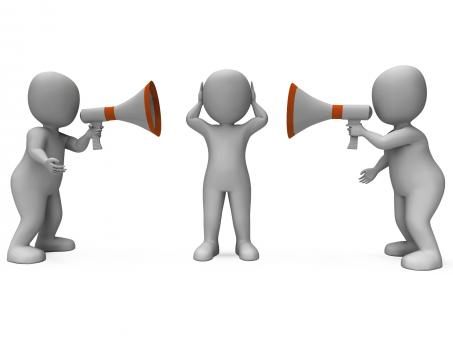 Free Stock Photo of Loud Hailer Characters Show Megaphone Attention Explaining And Bullyin