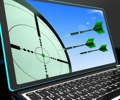 Free Stock Photo of Arrows Aiming On Laptop Shows Perfect Strategies