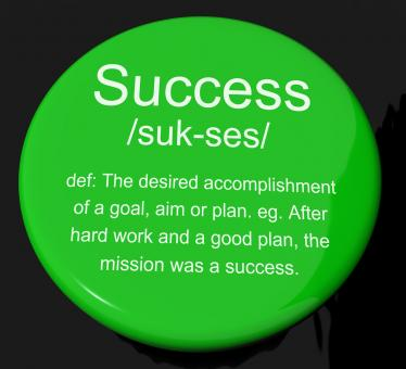 Free Stock Photo of Success Definition Button Showing Achievements Or Attainment Of Wealth