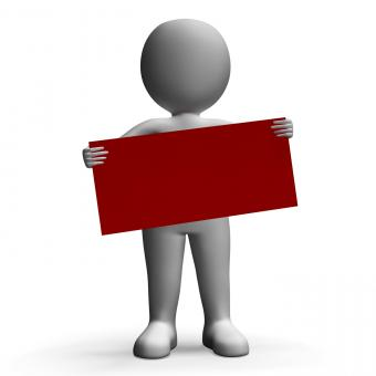 Free Stock Photo of Message Board Held By Character Shows Greeting