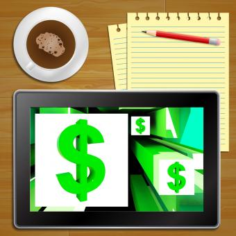 Free Stock Photo of Dollar Symbol On Cubes American Earnings Tablet