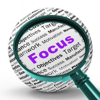 Free Stock Photo of Focus Magnifier Definition Shows Concentration And Targeting