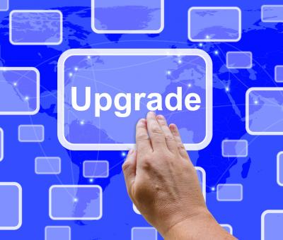 Free Stock Photo of Upgrade Button Showing Software Updates To Fix Applications
