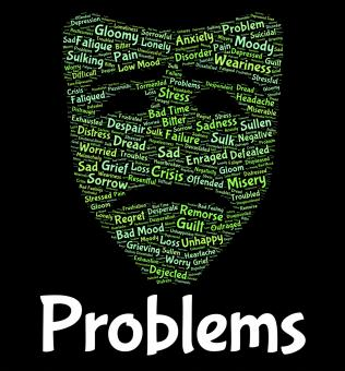 Free Stock Photo of Problems Word Shows Stumbling Block And Dilemma