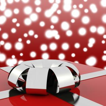 Free Stock Photo of Red Giftbox With Stars Background For Womens Birthday