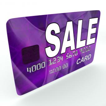 Free Stock Photo of Sale On Credit Debit Card Shows Offer Bargain Promotion