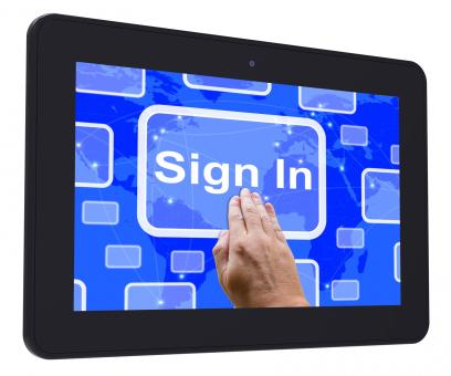 Free Stock Photo of Sign In Tablet Touch Screen Shows Website Logins And Sign in