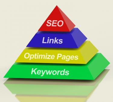 Free Stock Photo of SEO Pyramid Showing Use Of Keywords Links Titles And Tags