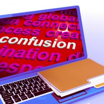 Free Stock Photo of Confusion Word Cloud Laptop Means Confusing Confused Dilemma