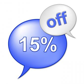 Free Stock Photo of Fifteen Percent Off Represents Clearance Cheap And Reduction