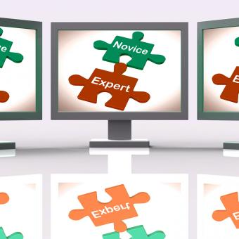Free Stock Photo of Novice Expert Puzzle Screen Shows Unskilled And Professional