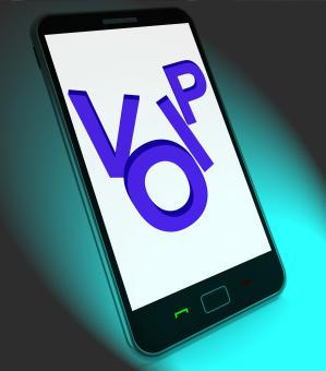 Free Stock Photo of Voip On Mobile Shows Voice Over Internet Protocol Or Ip Telephony
