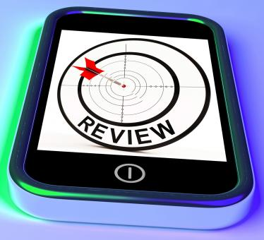Free Stock Photo of Review Smartphone Shows Feedback Evaluation And Assessment