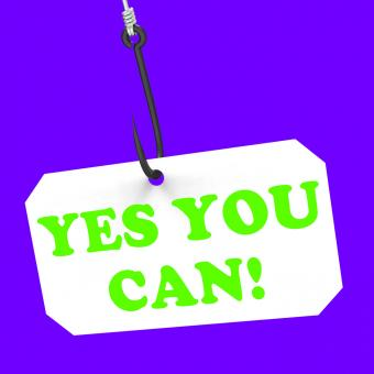 Free Stock Photo of Yes You Can! On Hook Means Inspiration And Motivation