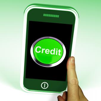 Free Stock Photo of Credit Button On Mobile Shows Finance Or Loan For Purchases