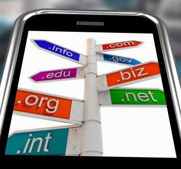 Free Stock Photo of Domains On Smartphone Shows Internet Websites