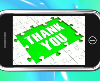 Free Stock Photo of Thank You On Smartphone Shows Gratitude Texts And Appreciation