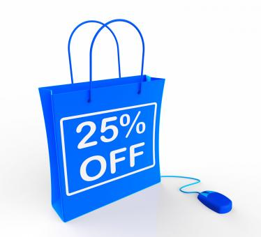 Free Stock Photo of Twenty-five Percent Off Bag Shows 25 Reductions in Price