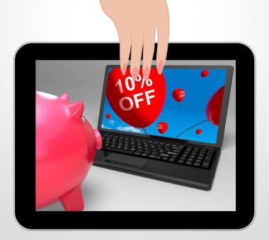 Free Stock Photo of Ten Percent Off Laptop Displays Online Sale And Bargains