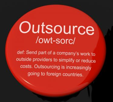 Free Stock Photo of Outsource Definition Button Showing Subcontracting Suppliers And Freel