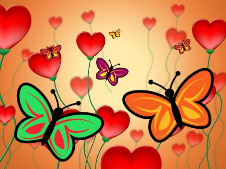 Free Stock Photo of Heart Butterflies Represents Valentine Day And Butterfly