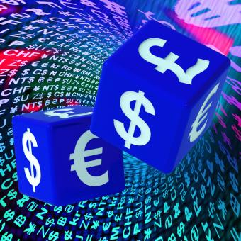 Free Stock Photo of Currencies Dice On Background Shows Forex