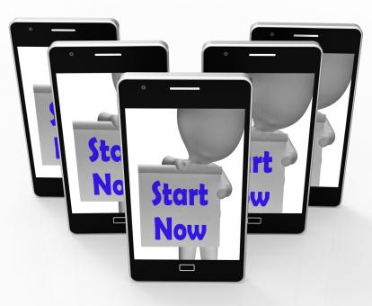 Free Stock Photo of Start Now Phone Shows Begin Or Do Immediately