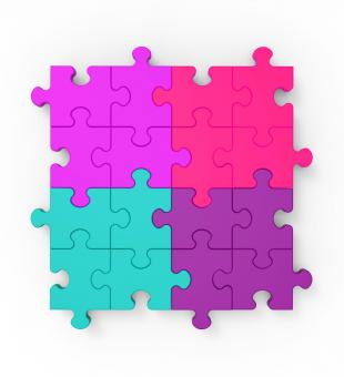 Free Stock Photo of Multicolored Puzzle Square Shows Completion