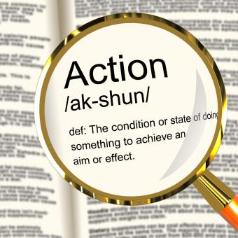 Free Stock Photo of Action Definition Magnifier Showing Acting Or Proactive