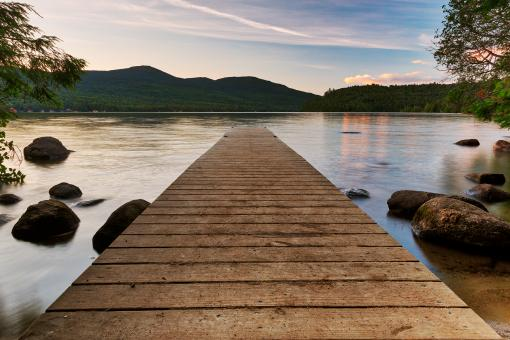 Free Stock Photo of Lake Placid Sunset Jetty - HDR