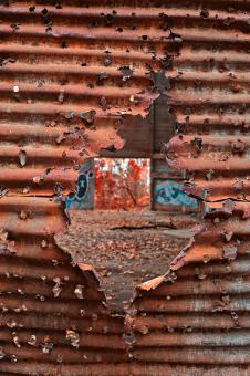 Free Stock Photo of Autumn Power House Decay - Blood Red HDR