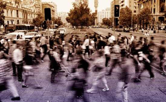 Free Stock Photo of Urban Scene - People Crossing Avenue - Blurry Looks