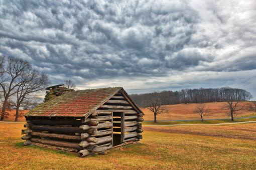 Free Stock Photo of Valley Forge Cabin Cloudscape - HDR