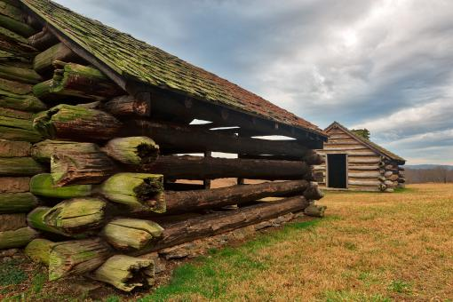 Free Stock Photo of Valley Forge Cabin Pair - HDR
