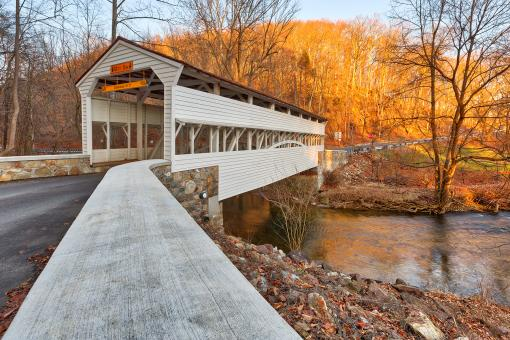 Free Stock Photo of Knox Covered Bridge - HDR