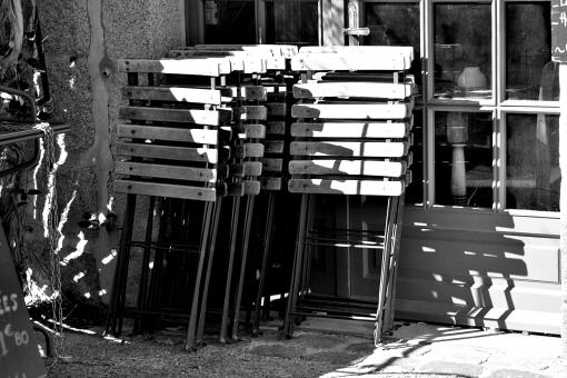 Free Stock Photo of Folded Chairs - Black and White