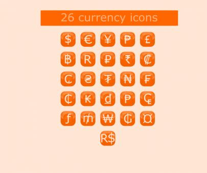 Free Stock Photo of 26 Currency Buttons Set