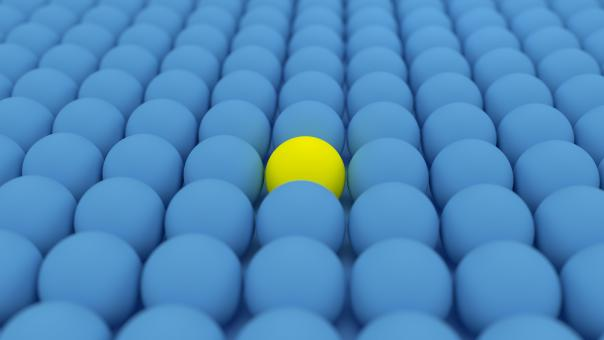 Free Stock Photo of One Yellow  Ball Among Blue Balls