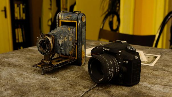 Free Stock Photo of Vintage Camera and New