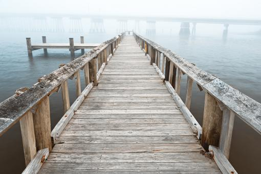 Free Stock Photo of Misty Assateague Pier - High Key HDR