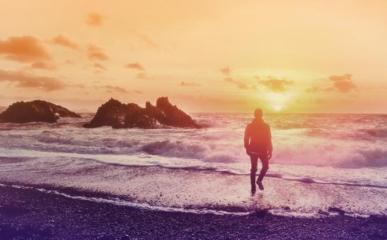 Free Stock Photo of Into the Sea - Young Man Watching the Sunrise at the Beach