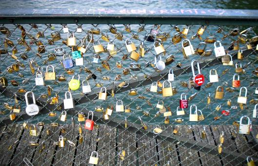 Free Stock Photo of Love Inscribed Padlocks on the Pont Des Arts Bridge in Paris