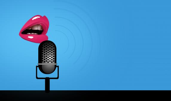Free Stock Photo of Speaking - Mouth and Microphone - With Copyspace